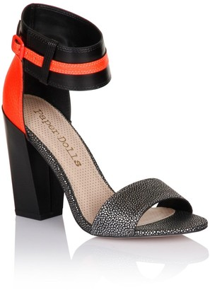 Paper Dolls Black and Coral Metallic Two Strap Heels
