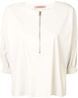 Yves Salomon Front Zip Leather Blouse