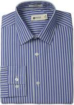Haggar Men's Wide Stripe Point Collar Regular Fit Long Sleeve Dress Shirt
