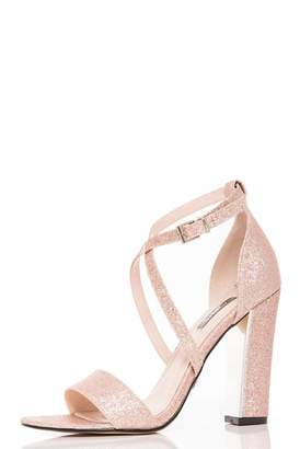 Quiz Rose Gold Glitter Block Heel Strappy Sandals