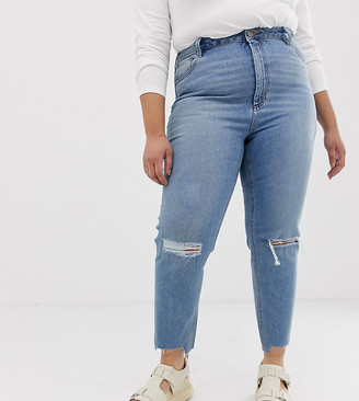 Asos DESIGN Curve Farleigh high waisted slim mom jeans in light vintage wash with busted knee and rip & repair detail