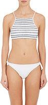 Kisuii Women's Terez Smocked Crop Bikini Top-WHITE