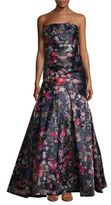 Monique Lhuillier Printed Straight-Across Strapless Gown