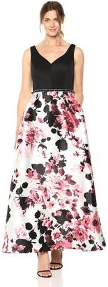 Ignite Women's Sleeveless V-Neck Printed Ballgown Dress