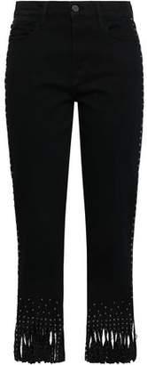 Frame Le High Straight Fringed Studded High-rise Straight-leg Jeans