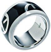 Emporio Armani Black & White Logo Ring EGS1232 Size 6.5