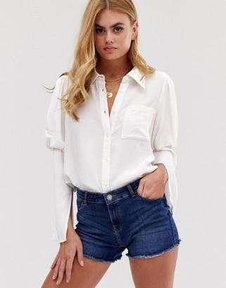 ASOS DESIGN long sleeve shirt in crinkle with split sleeve detail
