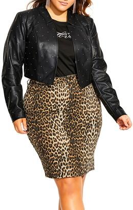 City Chic Temptation Stud Detail Faux Leather Jacket