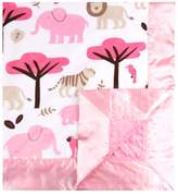 MyBlankee My Blankee Jungle Tales Minky Velour White with Minky Dot Velour Pink Baby Blanket