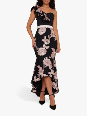 Chi Chi London Neelam Floral Embroidery Fishtail Hem Maxi Dress, Black/Blush