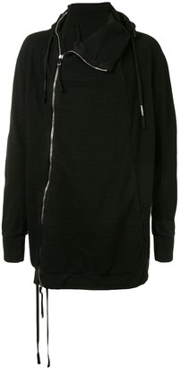 Boris Bidjan Saberi Asymmetric Zip Cotton Hoodie