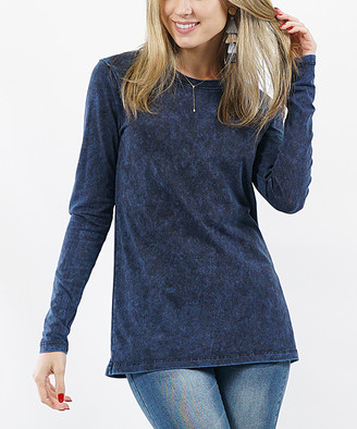 Lydiane Women's Tee Shirts SAPPHIRE - Sapphire Crewneck Long-Sleeve Mineral Wash Top - Women