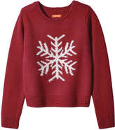 Joe Fresh Kid Girls' Snowflake Graphic Sweater, Red (Size M)