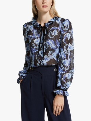 Somerset by Alice Temperley Dahlia Tie Neck Blouse, Blue