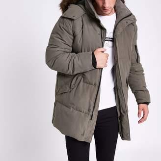 River Island Mens Grey longline faux fur hooded parka jacket