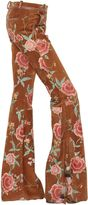 Roberto Cavalli Floral Printed Flared Suede Pants