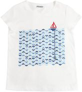 Simonetta Sequined & Printed Cotton Jersey T-Shirt