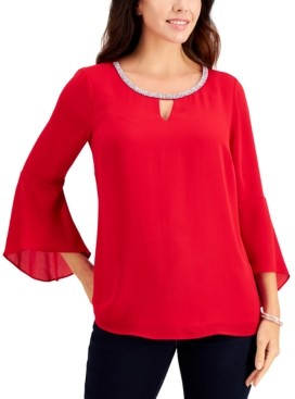 JM Collection Bell-Sleeve Rhinestone-Neck Top, Created for Macy's