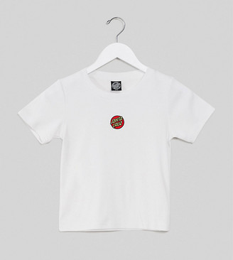 Santa Cruz Classic Dot Emb cropped t-shirt in white Exclusive at ASOS