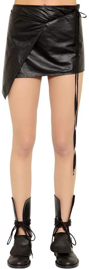 Ann Demeulemeester Wrap Leather Mini Skirt