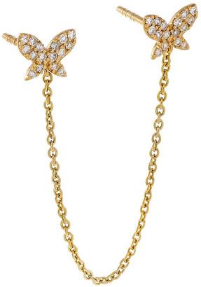 Adina's Jewels 14k Butterfly Diamond Double Piercing Single Earring