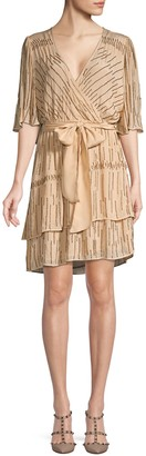 Love Sam Glitter Rain Tiered Wrap Dress