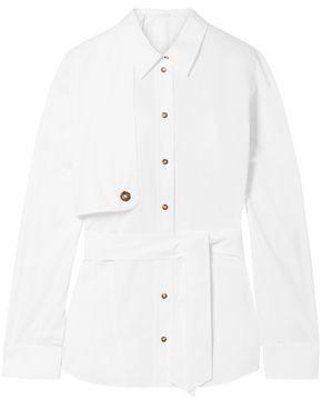 Cédric Charlier Belted Cotton-poplin Shirt