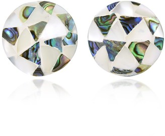 Aeravida Handmade Ocean-Inspired Mixed Inlaid Seashell Mosaic Round Button Stud Earrings