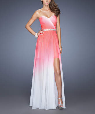 La Femme Women's Special Occasion Dresses Electric - Electric Pink Ombre Beaded-Belt Leg-Slit Strapless Gown - Women