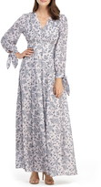 Gal Meets Glam Florence Floral Tie Cuff Long Sleeve Maxi Dress