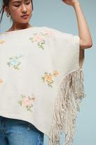 Anthropologie Flowered Fringe Poncho