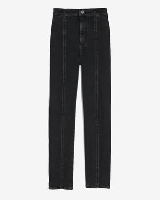 Express Super High Waisted Black Seamed Slim Ankle Jeans