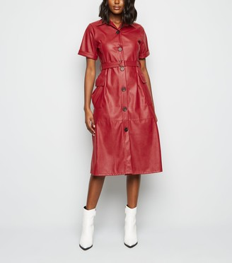 New Look Urban Bliss Coated Leather-Look Dress