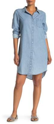 Susina Chambray Button Front High/Low Shirt Dress