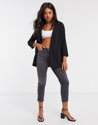 New Look crepe blazer in black