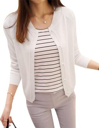 Qitun Womens Basic Round Neck Fine Knit Cardigan Short Section Thin Coat Yellow S