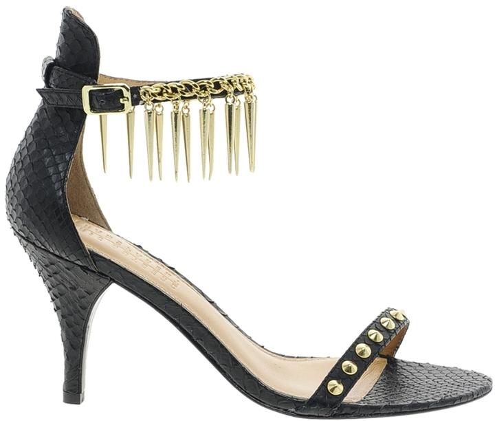 Elizabeth and James Metal Heeled Sandal with Spike Detail Strap - Black
