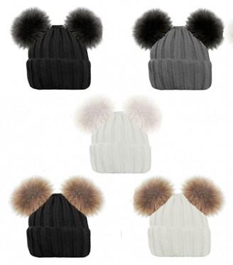 Handy Glove Ladies Gorgeous Ribbed Beanie HAT Double Faux Fur POM POM Bear Cute 5 Colours (Grey with Black POM POM)
