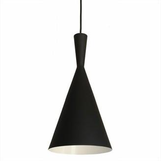 Wrought Studio Roberson 1 - Light Single Cone Pendant Finish: Black / White