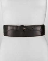Oscar de la Renta Wide Leather & Alligator Belt, Black
