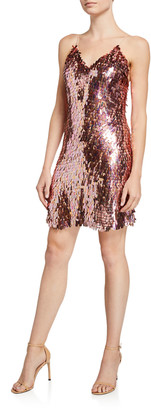 Alice + Olivia Contessa Sequined V-Neck Spaghetti Strap Dress