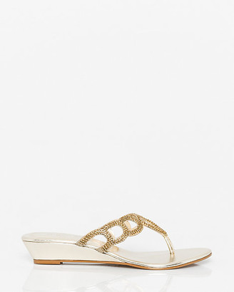 Le Château Metallic Faux Leather Thong Wedge