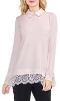 Vince Camuto Women's Lace Hem Collared Sweater