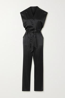 RtA Cynthia Belted Wrap-effect Silk-satin Jumpsuit - Black