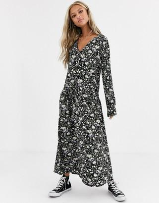 Asos DESIGN v neck maxi dress in black floral print