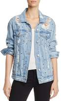 Sunset & Spring Studded Distressed Denim Jacket - 100% Exclusive