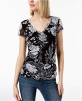 INC International Concepts I.n.c. Ruched Mesh V-Neck Top, Created for Macy's