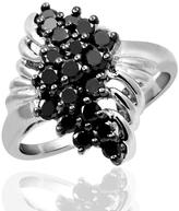 Ice 1 CT TW Round Black Diamond Sterling Silver Fancy Cluster Fashion Ring by JewelonFire
