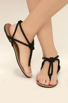 Qupid Sybil Black Suede Flat Sandals