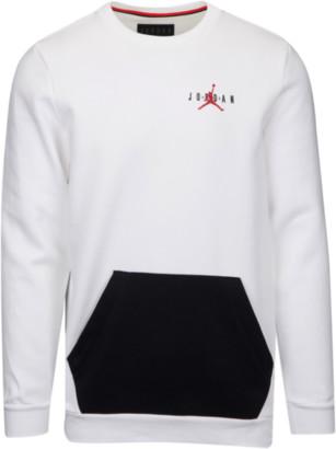 Jordan Jumpman Air Fleece Crew Sweatshirt - White / Black Gym Red